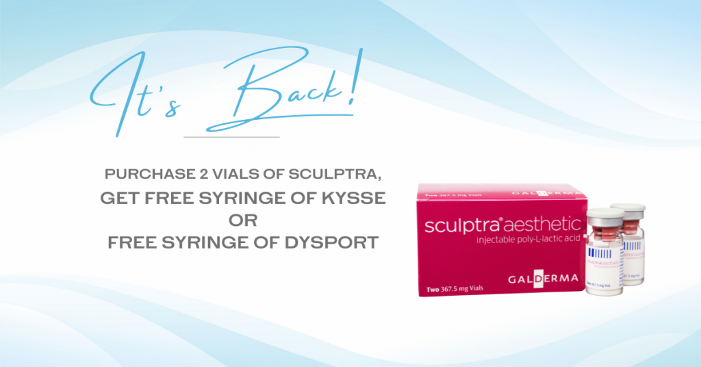 """A blue wavy background is shown with a vial and box of the filler """"Sculptra Aesthetic."""" The words appear to the left saying """"It's Back! Purchase 2 vials of Sculptra, get free syringe of Kysse or free syringe of Dysport."""""""